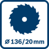 Saw blade and bore hole diameter 136/20 mm